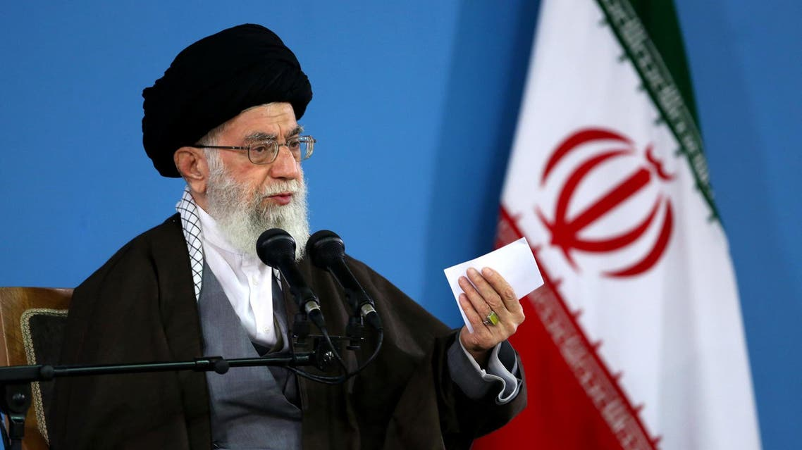 A handout picture released by the official website of the Centre for Preserving and Publishing the Works of Iran's supreme leader Ayatollah Ali Khamenei, shows him addressing the people during a meeting in Tehran on January 9, 2016. (File photo: AFP)