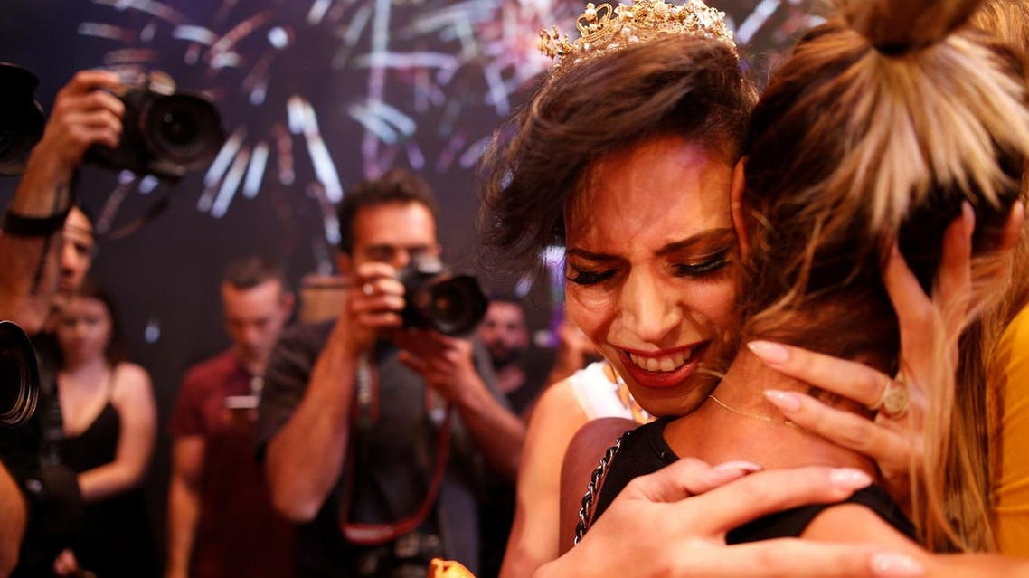 Ta'alin Abu Hanna, 21, is a Christian Israeli-Arab from Nazareth who described her victory as 'historic'. (Reuters)
