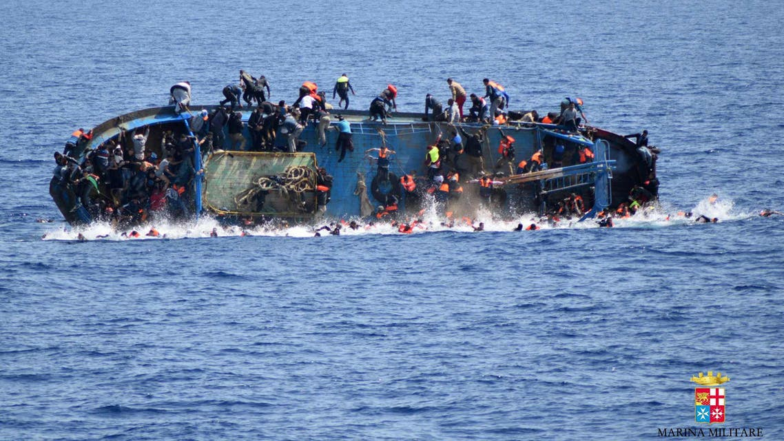 The Italian coastguard estimates it has rescued 10,000 people whose boats have capsized near the Libyan coast in the past week. (AFP)