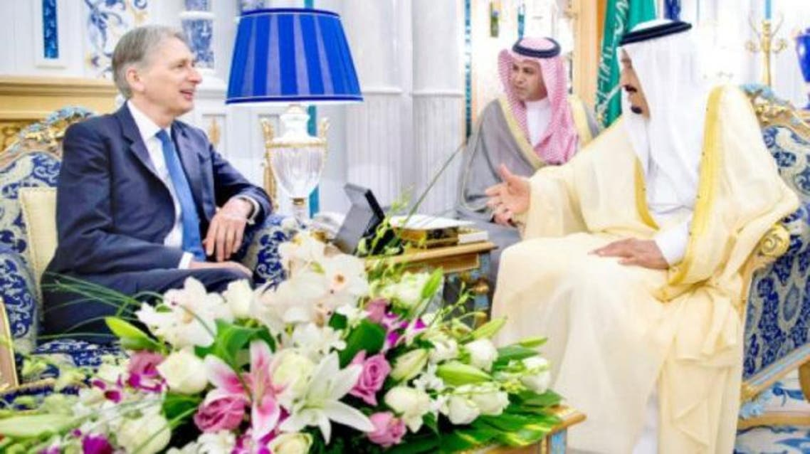 Hammond arrived in Saudi Arabia for the first leg of a three-day visit to Gulf countries. (SPA)