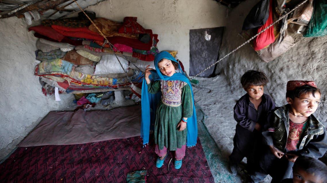 أطفال أفغان نازحون