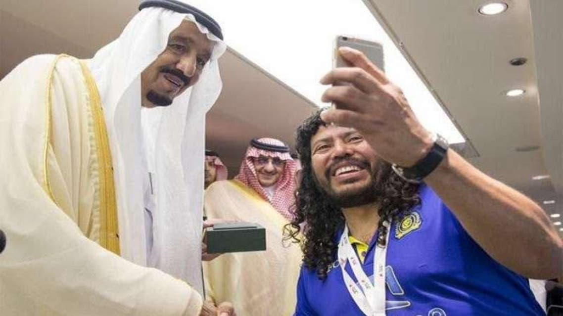 The photo was snapped following al-Nassr's match with al-Ahli, which won the King Cup in Jeddah on Sunday. (Photo courtesy: Sabq.org)
