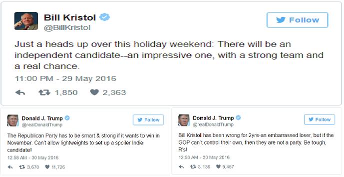 تغريدة بيل كريستول ورد ترامب عليها بتغريدتين