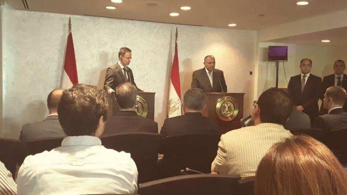سامح شكري خلال المؤتمر الصحفي