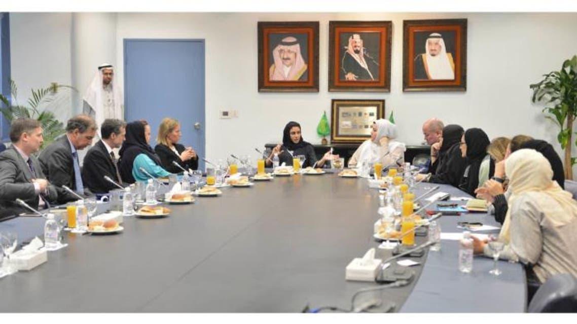 Lama Al-Sulaiman and Adnan Mandora speak to Federica Mogherini, high representative of the European Union, in Jeddah, Tuesday. — Saudi Gazette