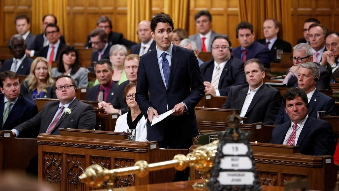 Canada's Prime Minister Justin Trudeau delivers an apology in the House of Commons on Parliament Hill in Ottawa, Ontario, Canada, May 19, 2016 following a physical altercation the previous day. REUTERS