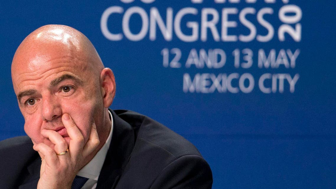 In this May 13, 2016 file photo FIFA President Gianni Infantino gives a press conference following the closing of the 66th FIFA Congress in Mexico City. (AP)
