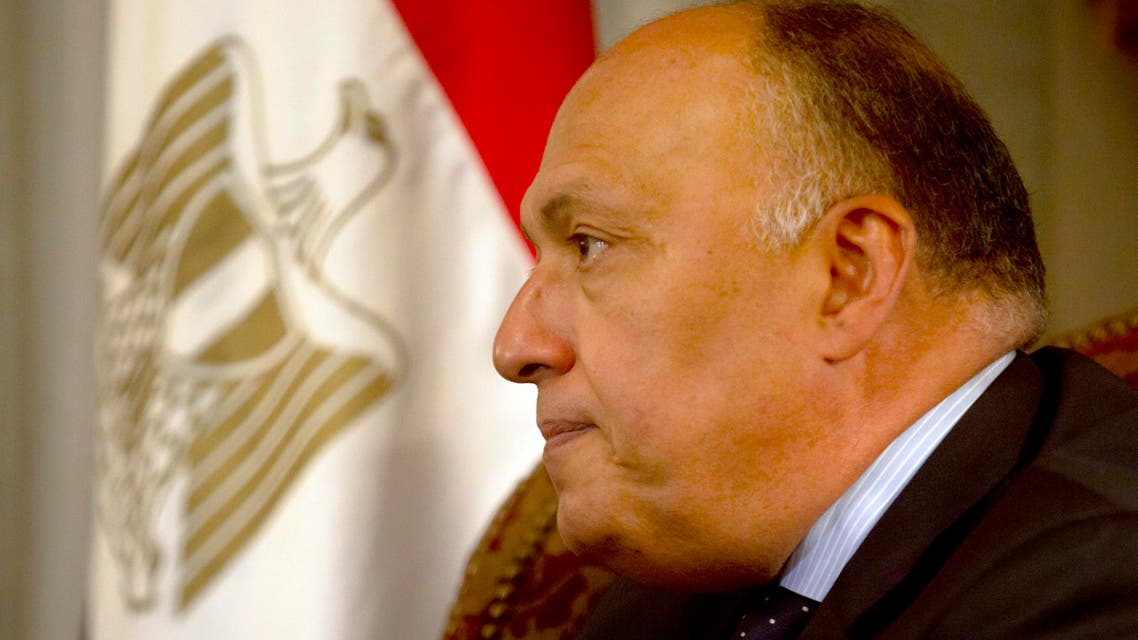 Egyptian Foreign Minister Sameh Shoukry listens to his Canadian counterpart Stephane Dion during a press conference after their meeting at Tahrir Palace in Cairo, Egypt, Wednesday, May 25, 2016. (AP)