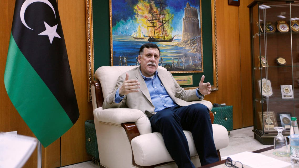 Prime Minister of Libya's unity government Fayez Seraj speaks during an interview with Reuters in his office at the naval base of Tripoli, Libya, June 3, 2016. reuters