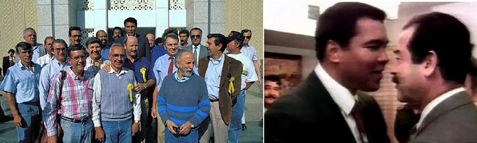 مع صدام في 1990 ومع الرهائن الذين عاد بهم من بغداد الى أميركا
