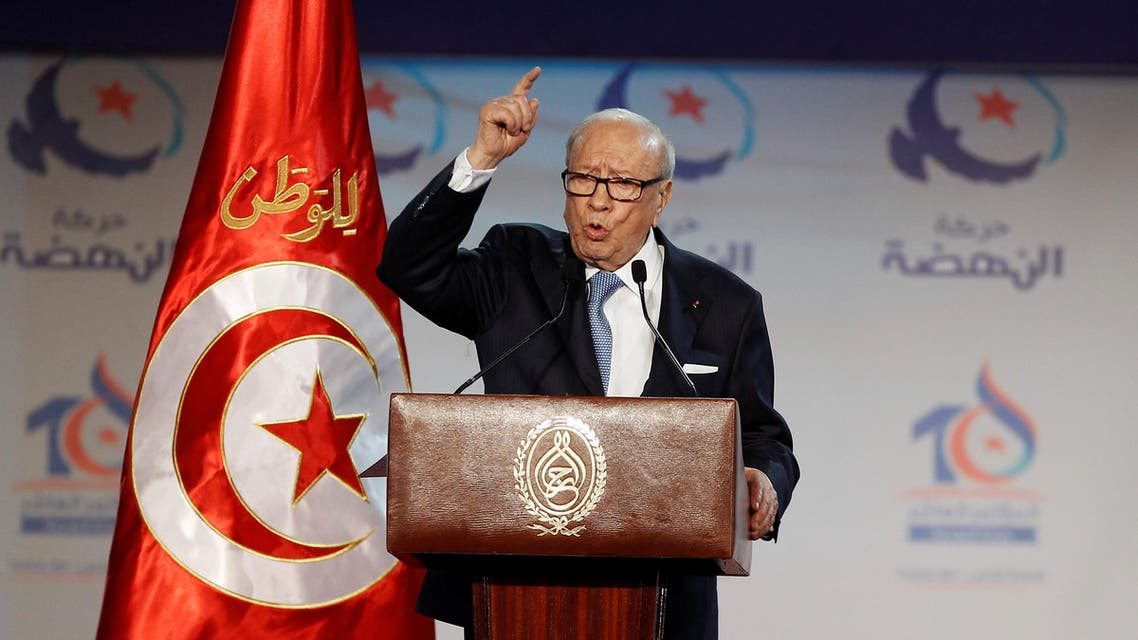 Tunisian President Beji Caid Essebsi speaks during the congress of the Ennahda Movement in Tunis, Tunisia May 20, 2016. REUTERS/Zoubeir Souissi