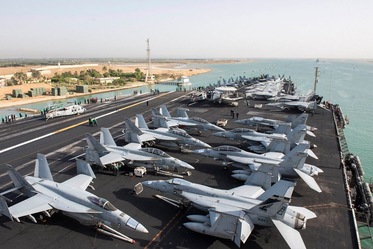 The US Navy aircraft carrier USS Harry S. Truman transits the Suez Canal, Egypt towards the Mediterranean Sea in a photo released by the US Navy June 2, 2016. U.S. fighter jets on Friday launched strikes against Islamic State from the USS Harry S. Truman aircraft carrier (Reuters)
