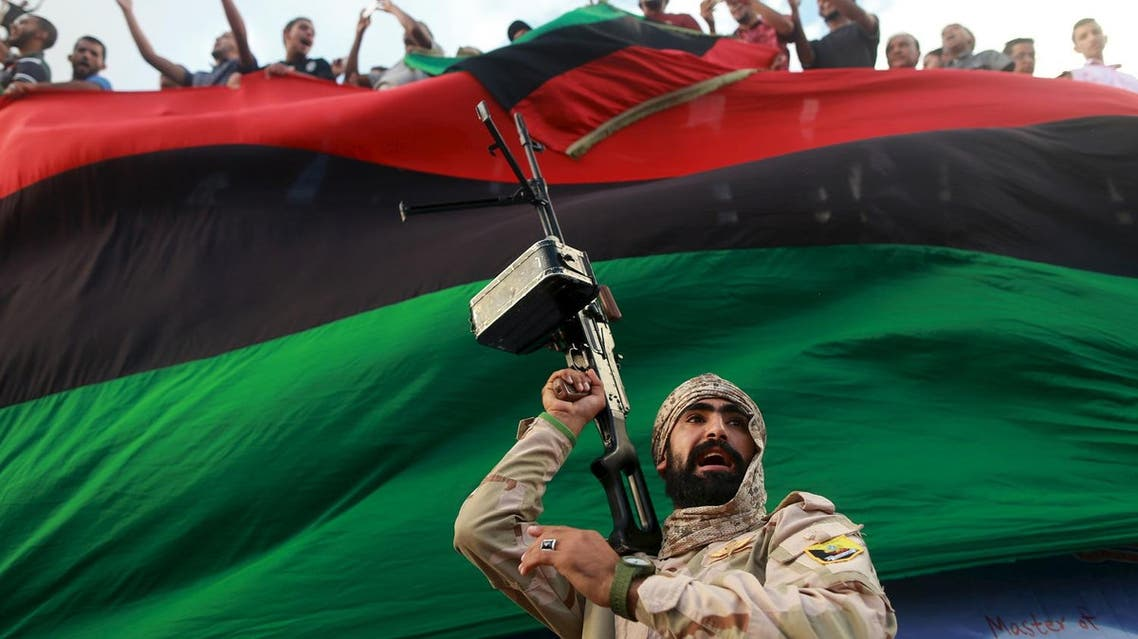 One of the members of the military protecting a demonstration against candidates for a national unity government proposed by U.N. envoy for Libya Bernardino Leon, is pictured in Benghazi, Libya October 23, 2015. REUTERS