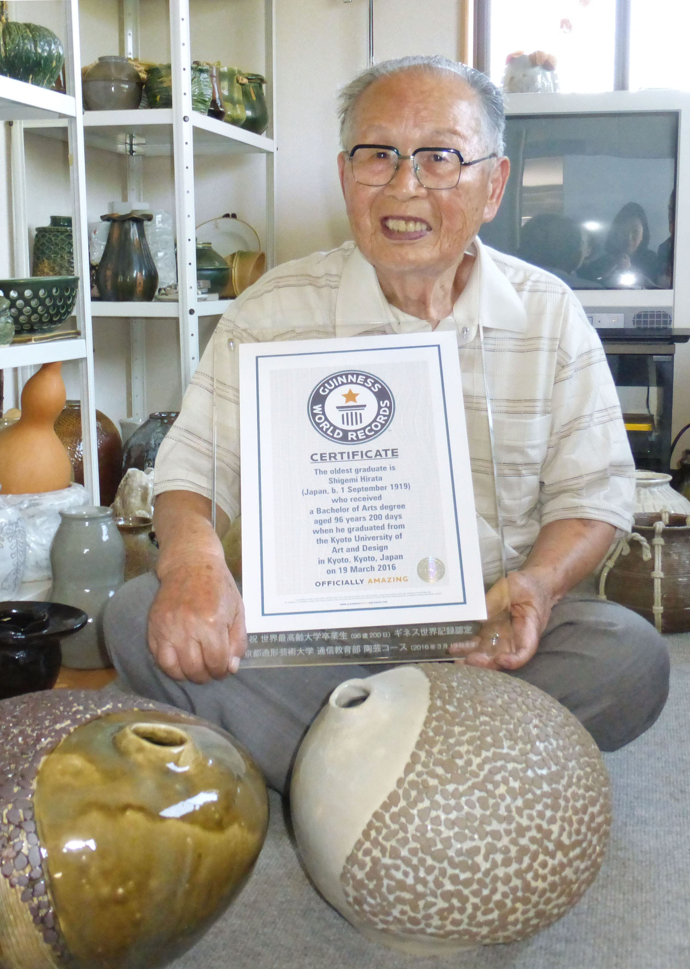 Hirata, who took 11 years to complete his ceramic arts course after taking up pottery as a pensioner, insisted he was not done setting records. (Photo courtesy:  Japan Times)