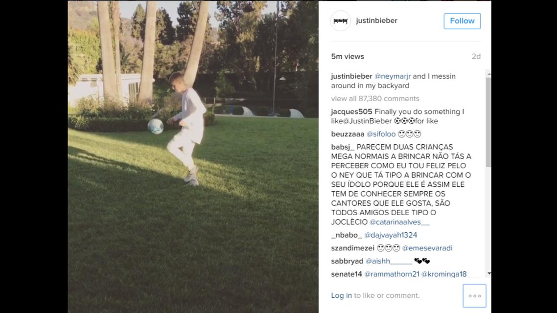 Justin Bieber playing keep-up with Neymar Jr. (Screengrab: Instagram)