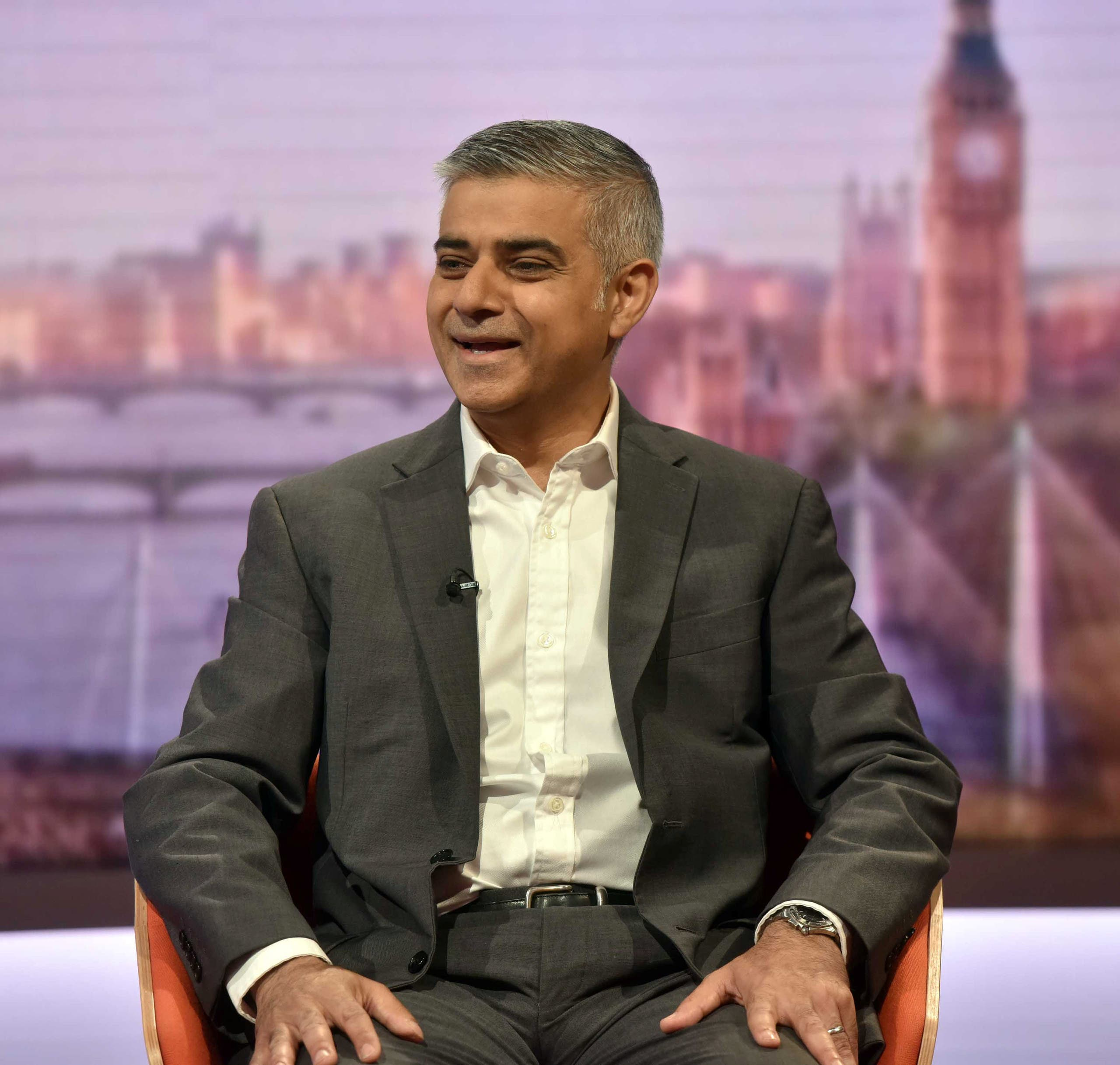 London's newly elected mayor Sadiq Khan appears on the BBC's Andrew Marr Show programe in a studio in London, Britain, May 8, 2016. (Reuters)