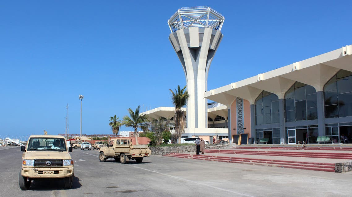 Pick-up truck drive on May 5, 2016 at the International Airport of the southern port city of Aden, as the first passenger plane landed after the airport reopened after months of closure due to security issues. (AFP)