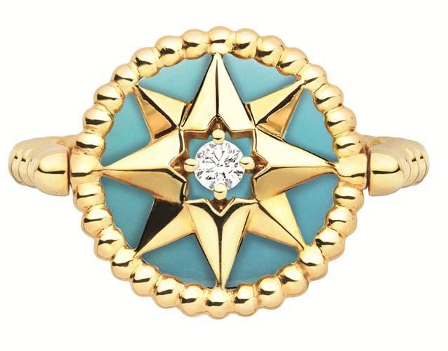 خاتم من الذهب الأصفر الفيروز والألماس