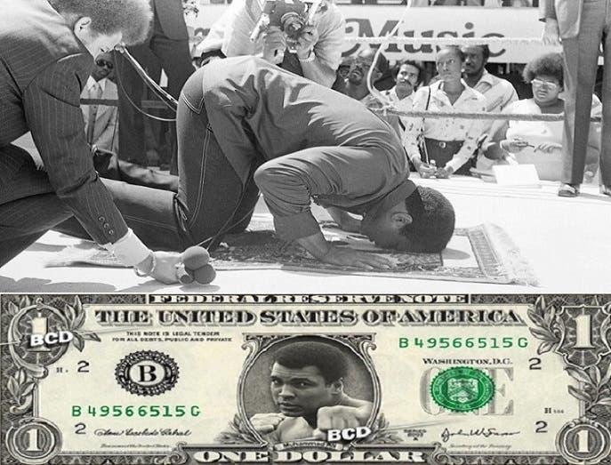 يصلي قبل مؤتمر صحافي، وأصوات بدأت ترتفع في أميركا لوضع صورة الملاكم الأسطورة على الدولار