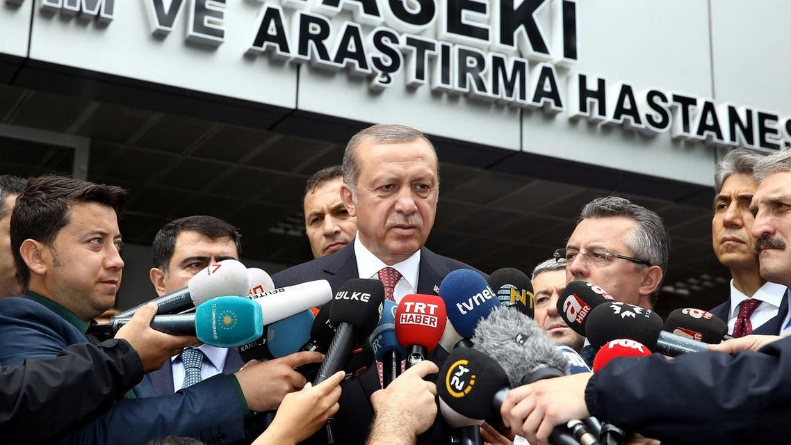 Turkish President Tayyip Erdogan talks to media after he visited people who were wounded after a car bomb ripped through a police bus, at Haseki hospital in Istanbul, Turkey, June 7, 2016. Yasin Bulbul/Presidential Palace/Handout via REUTERS