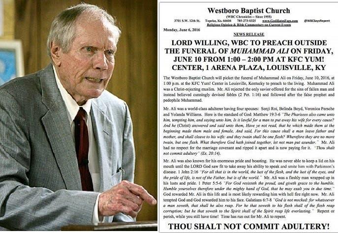 بيان الكنيسة بشأن جنازة الملاكم، ومؤسسها الذي توفي في 2014 وحرق نسخة مصحف قبل 5 سنوات