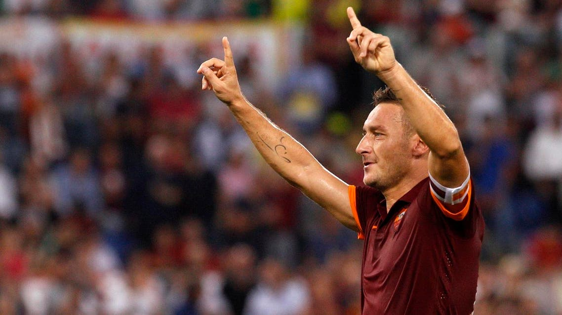 Totti was a World Cup winner with Italy in 2006 although his medal collection at Roma is relatively modest, consisting of one Serie A and two Coppa Italia titles. (AP)