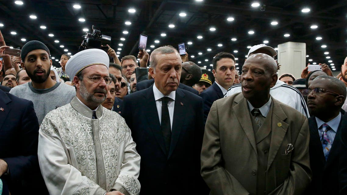 Turkish President Tayyip Erdogan (C) attends the jenazah, an Islamic funeral prayer, for the late boxing champion Muhammad Ali in Louisville, Kentucky, U.S. June 9, 2016. reuters