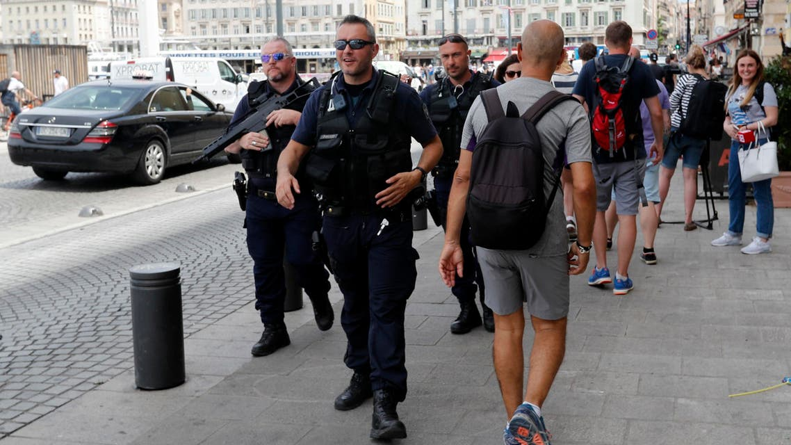 Security personnel patrol in and around the FanZone in Marseille, southern France, on June 10, 2016, ahead of England's Euro 2016 football match against Russia on June 11, 2016. (AFP)