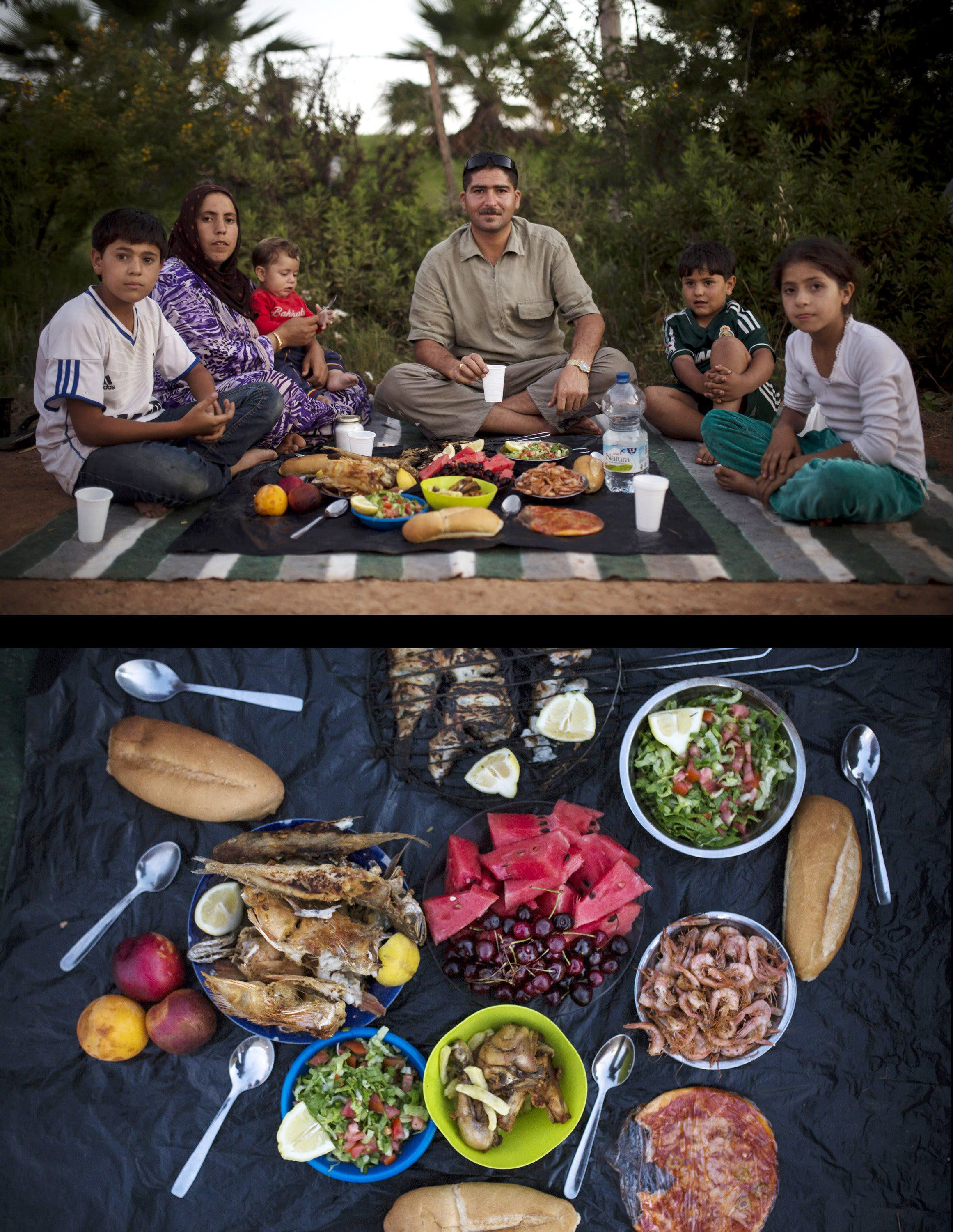 A Syrian refugee family waiting to break their fast, top, and their meal, bottom, during the holy month of Ramadan, next to the Temporary Centre for Immigrants in the Spanish enclave of Melilla, Spain. (File photo: AP)