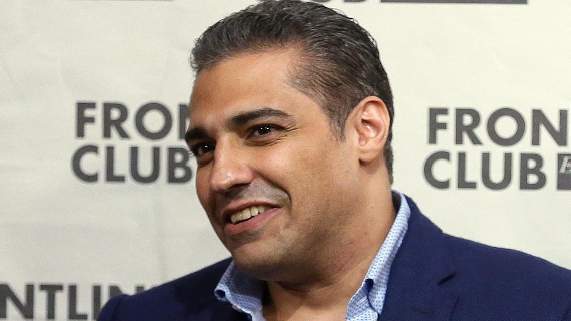 In this Wednesday Oct. 7, 2015, file photo, former Al Jazeera bureau chief Mohamed Fahmy speaks during a talk at the Frontline Club in London.