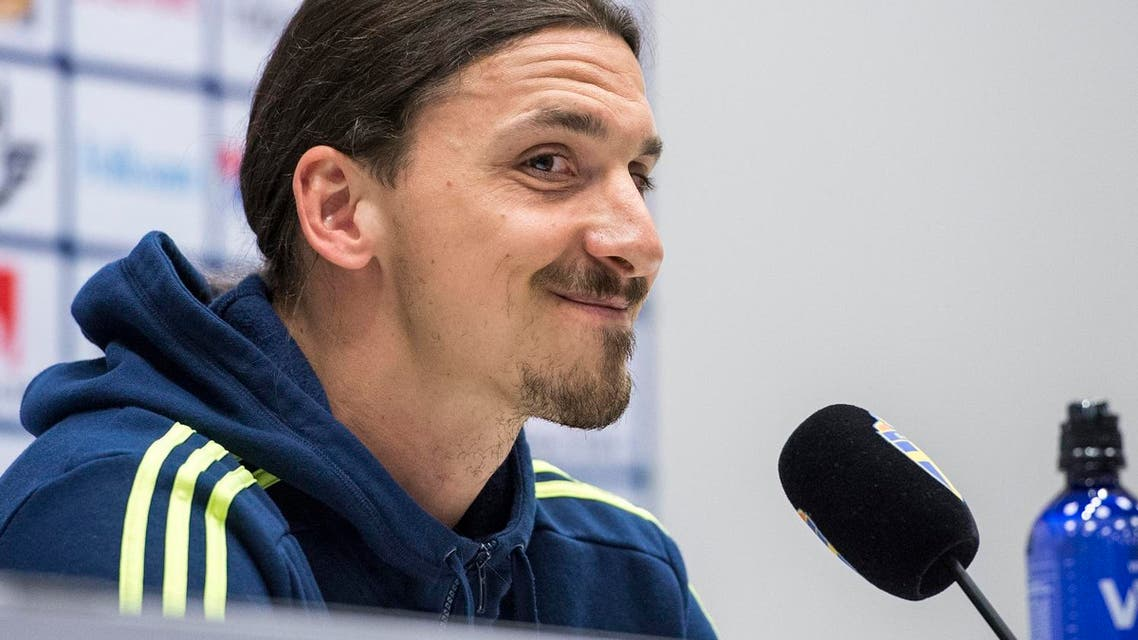 Sweden's Zlatan Ibrahimovic smiles during a press conference following training with Sweden's national football team at the Friends Arena in Stockholm (File Photo: AP)