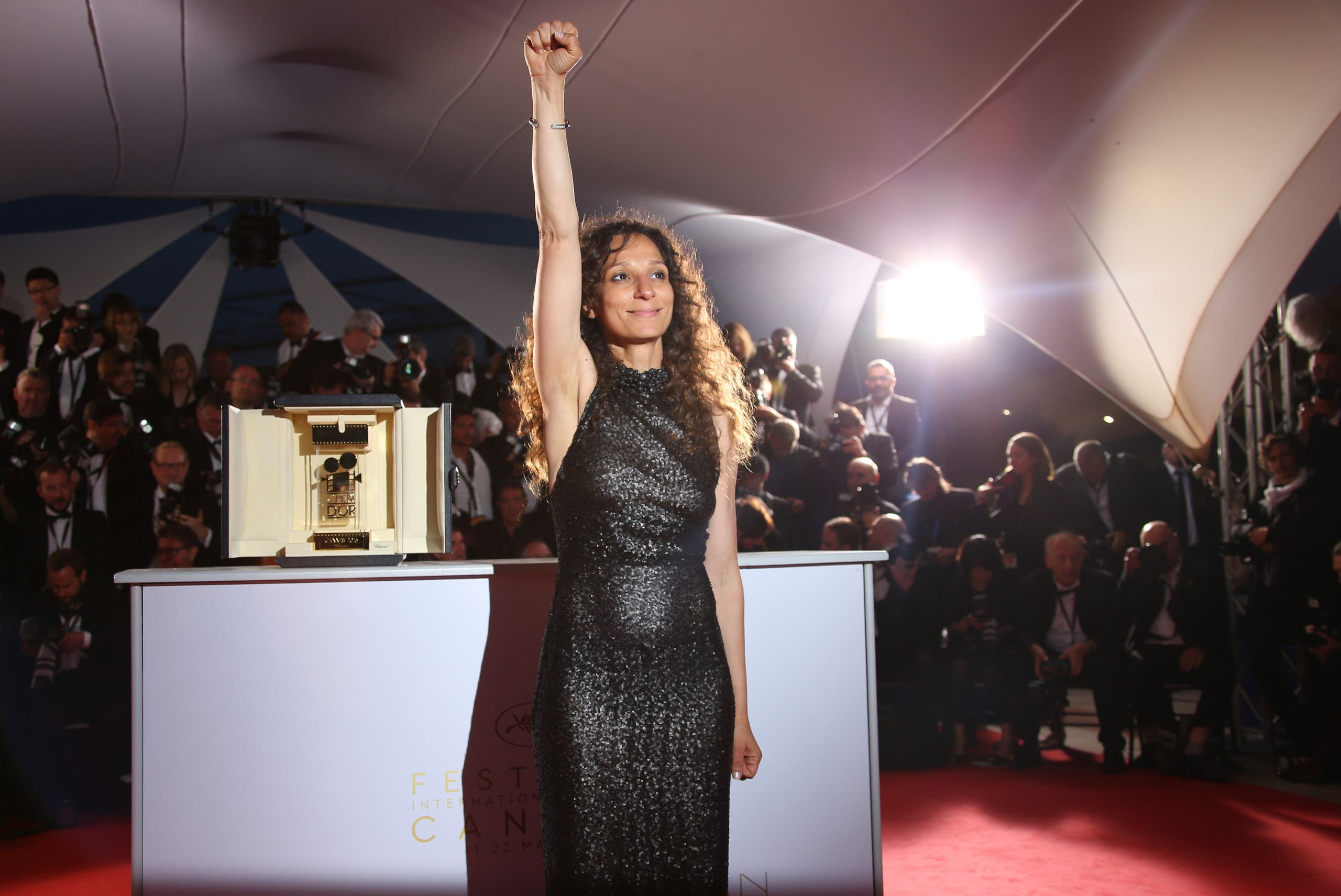 Houda Benyamina winning the Camera d'Or at the 69th Cannes Film Festival