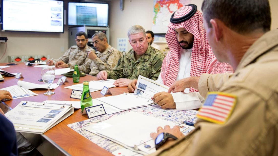 A handout picture released on July 8, 2015 by the Saudi Press Agency (SPA) shows Saudi deputy Crown Prince and Minister of Defence Mohammed bin Salman (2nd from R) attending a meeting with US navy officers. (AFP)