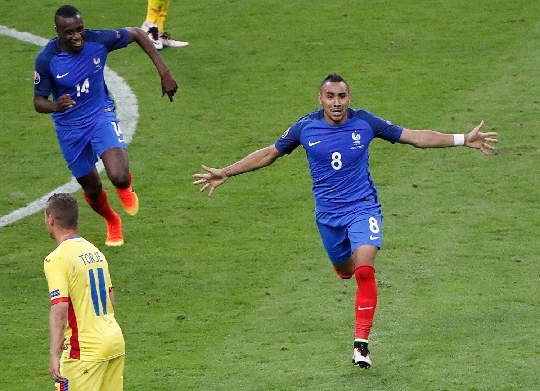 France's Dimitri Payet jubilation after scoring. (Reuters)