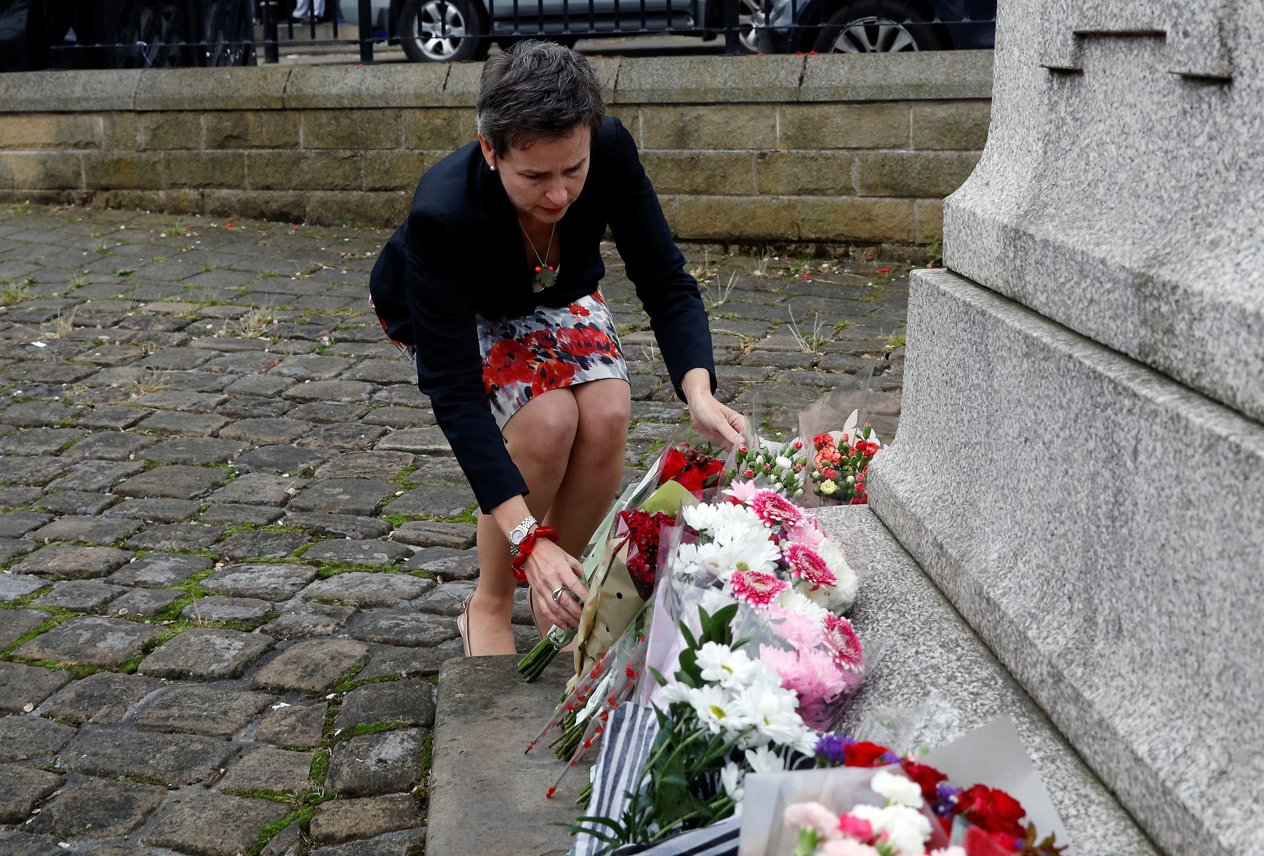 Labour MP Mary Creagh arrives to lay flowers in tribute to Jo Cox, near the scene where she was killed in Birstall near Leeds, June 16, 2016. reuters