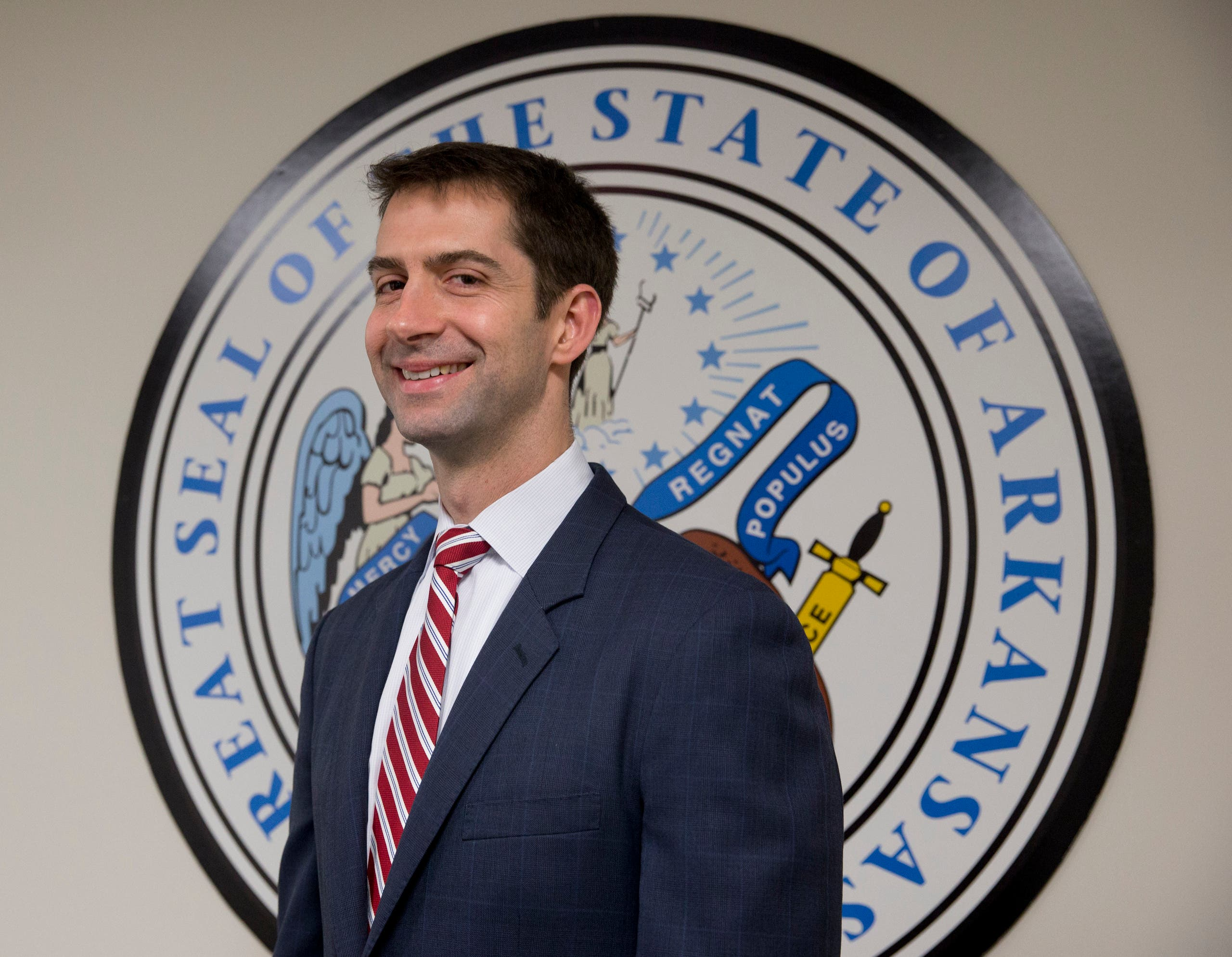 Prince Mohammed also met on Wednesday with Tom Cotton (pictured), a Republican senator from Arkansas. (AP)