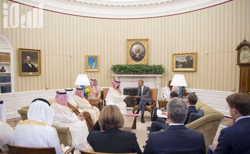 Saudi Arabia's Deputy Crown Prince Mohammed bin Salman meets with President Barack Obama in the White House (Photo: SPA)