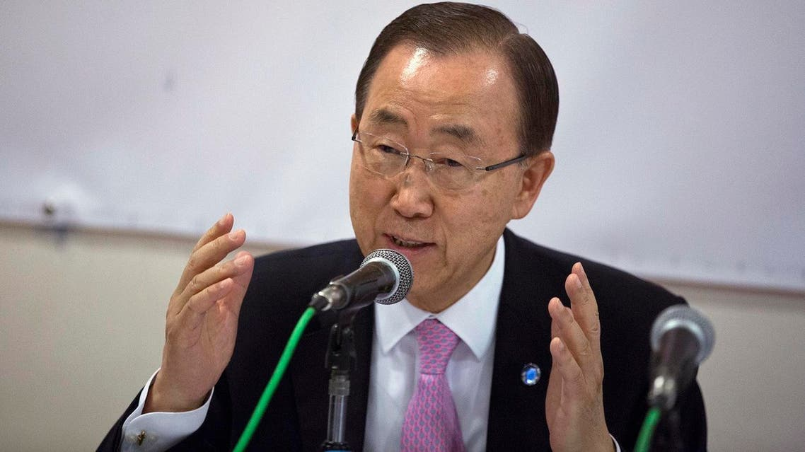 Ban Ki-moon, speaks at the Solidarity Now group offices, which helps victims of Greece's financial crisis and migrants stuck in the country, in Athens, on Friday, June 17, 2016. The United Nations secretary-general is visiting a charity in Athens, ahead of talks with Greek government officials and a trip to the island of Lesbos, which is at the forefront of Greece's immigration crisis. (AP Photo/Petros Giannakouris)