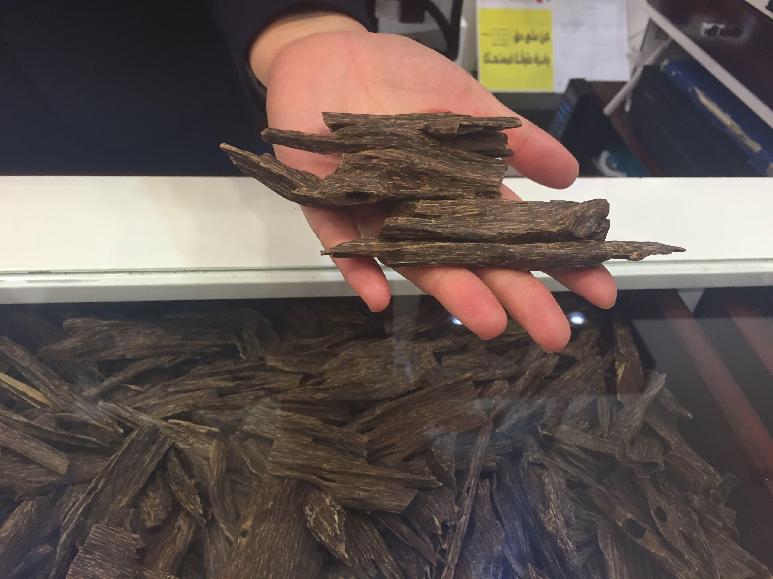 A tola, or 12 grams, of cambodian oud is shown. Usually emits softer notes. (Ismaeel Naar/Al Arabiya English)