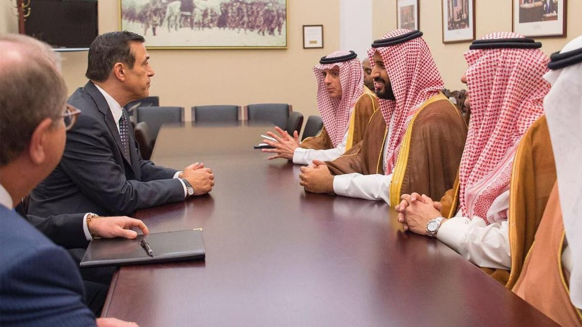 Saudi Arabia's Deputy Crown Prince Mohammed bin Salman meets with the chairman members of the US Senate Committee on Foreign Relations, Washington, June 15, 2016. (SPA)