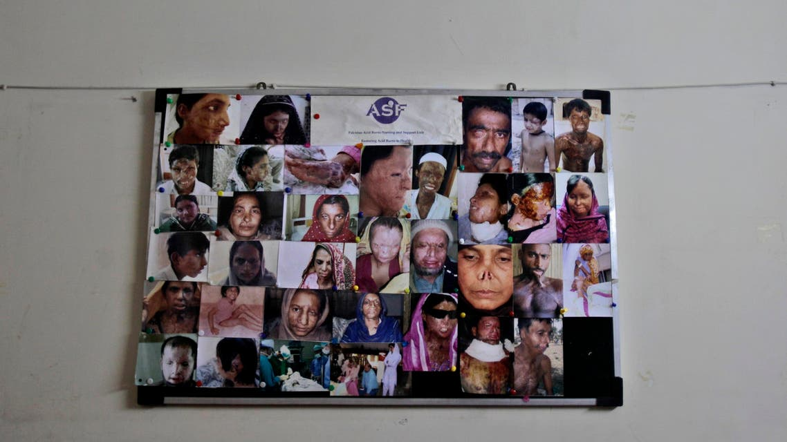In this Saturday, May 19, 2012 photo, a board showing pictures of acid attack survivors is placed on a wall inside the Acid Survivors Foundation (ASF), in Islamabad, Pakistan.