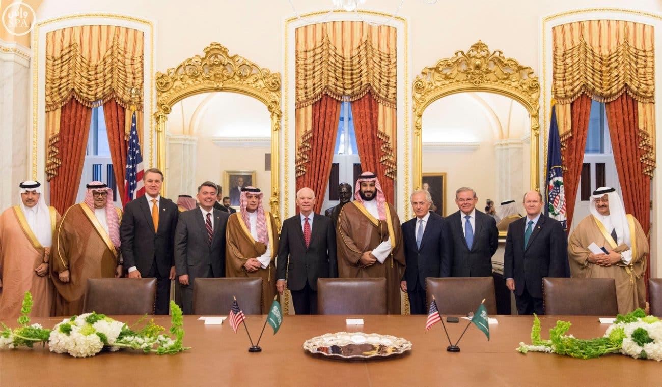 Saudi Arabia's Deputy Crown Prince Mohammed bin Salman meets with members of the US Senate Committee on Foreign Relations, Washington, June 15, 2016. (SPA)