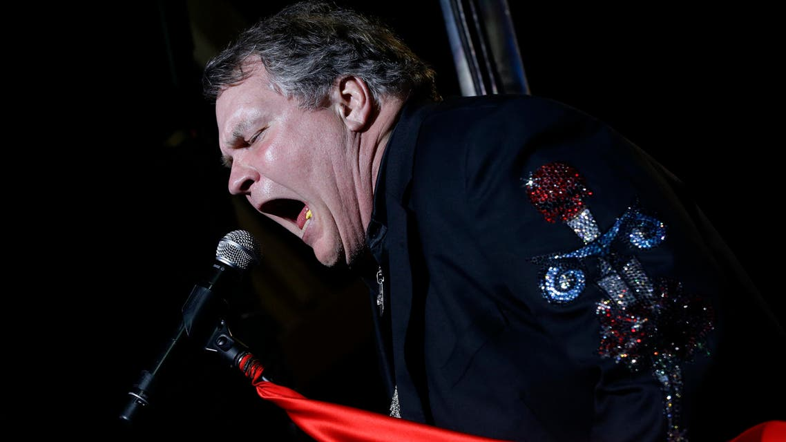 Singer Meat Loaf performs in support of Republican presidential candidate and former Massachusetts Gov. Mitt Romney at the football stadium at Defiance High School in Defiance, Ohio, Thursday, Oct. 25, 2012. (AP)