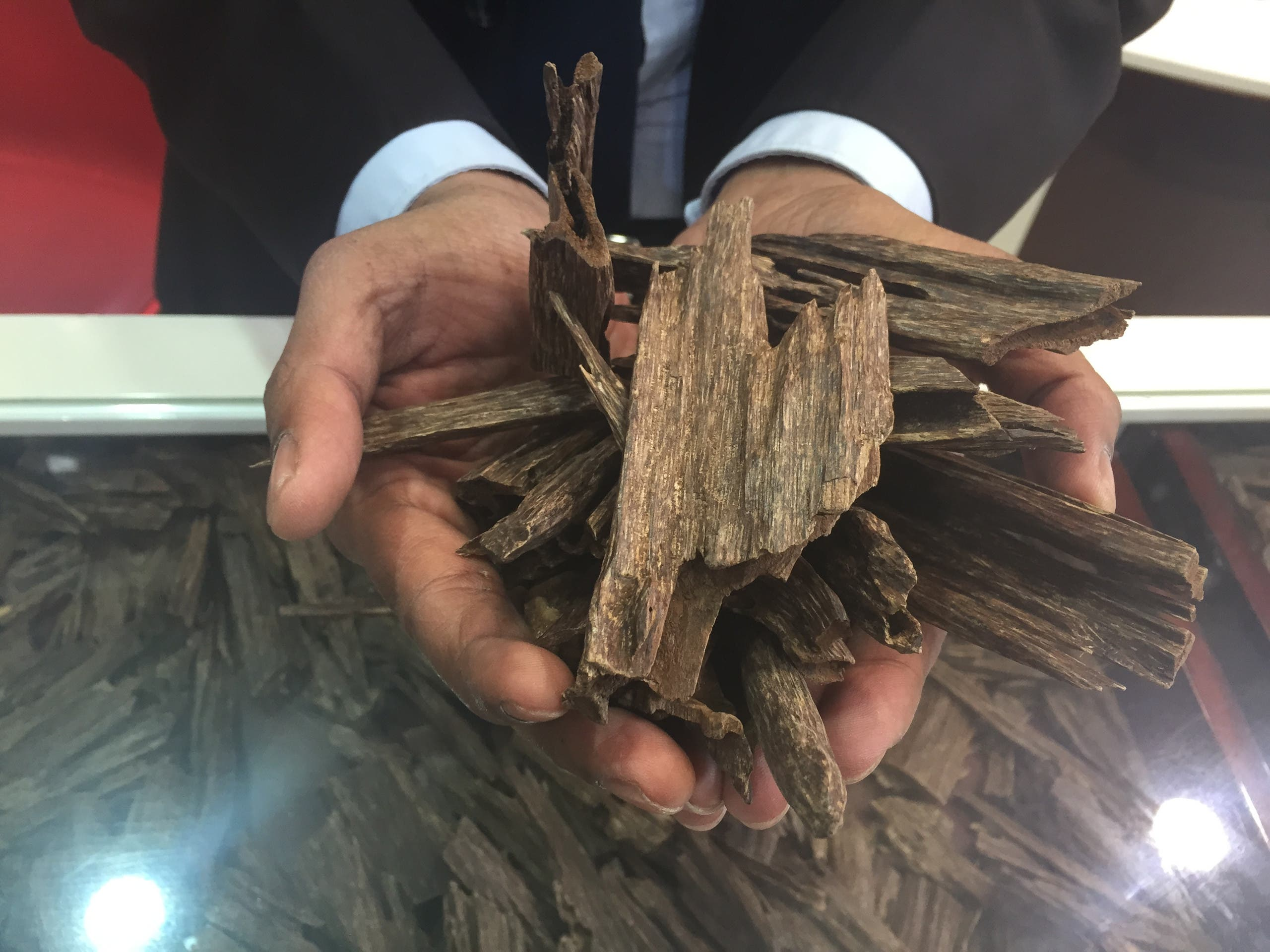 A tola, or 12 grams, of Indian oud is shown. Usually has a more spicier smell. (Ismaeel Naar/Al Arabiya English)