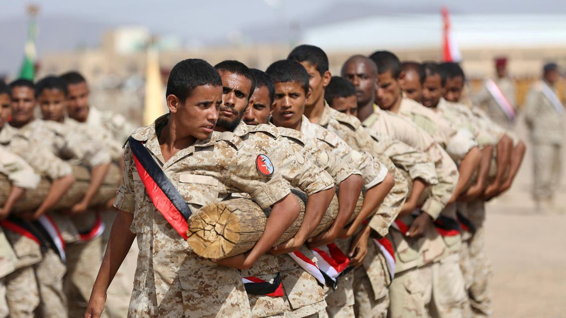 Soldiers loyal to Yemen's President Abd-Rabbu Mansour Hadi take part in a parade in Marib. (Reuters)