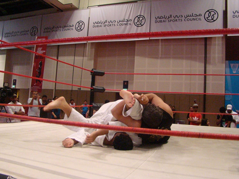 The Pharoah holds down Khaleel Khan. (Tarek Ali Ahmad, Al Arabiya English)