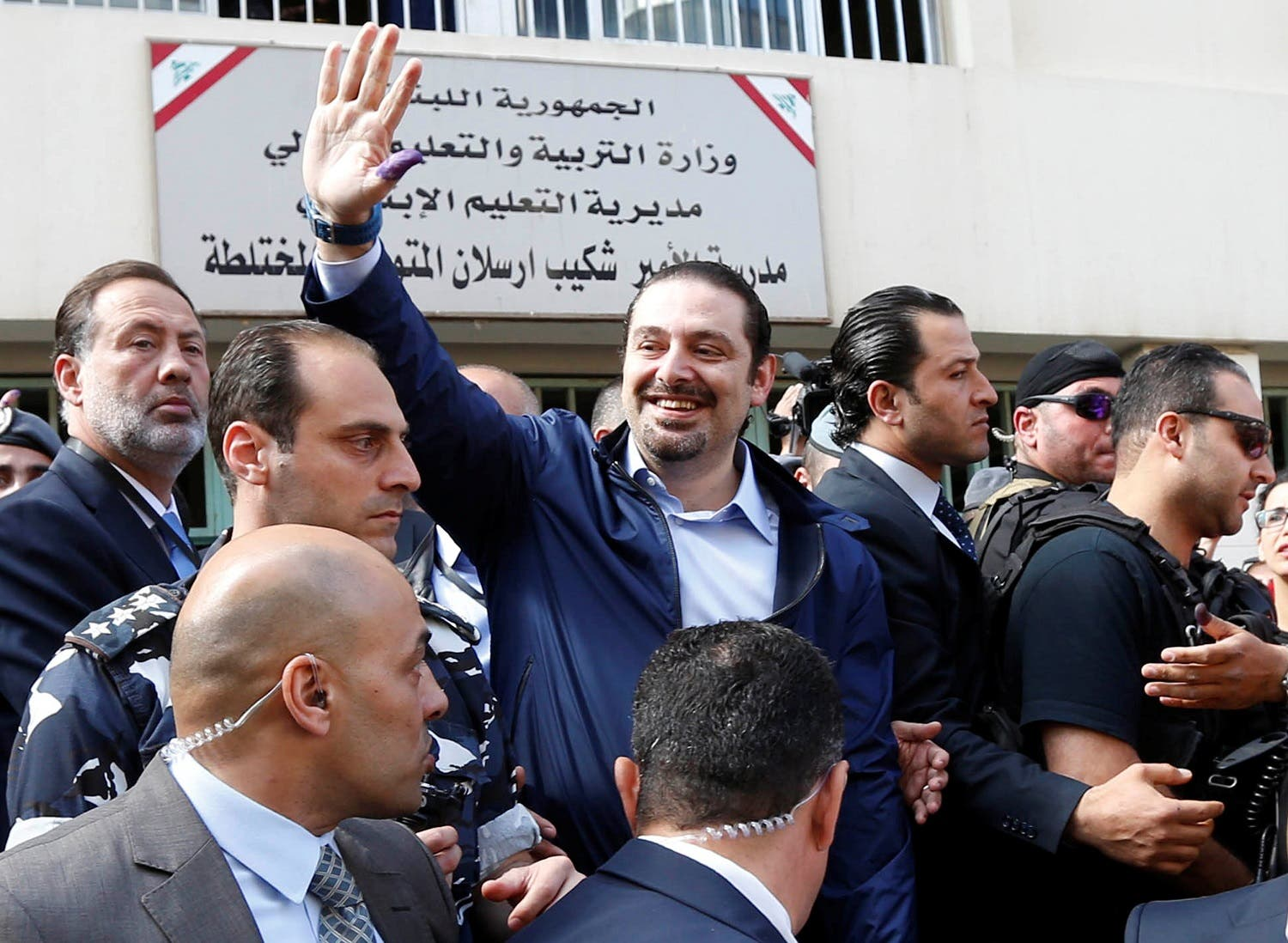 Lebanon's former Prime Minister Saad al-Hariri greets his supporters after casting his ballot at a polling station during Beirut's municipal elections, Lebanon, May 8, 2016. REUTERS