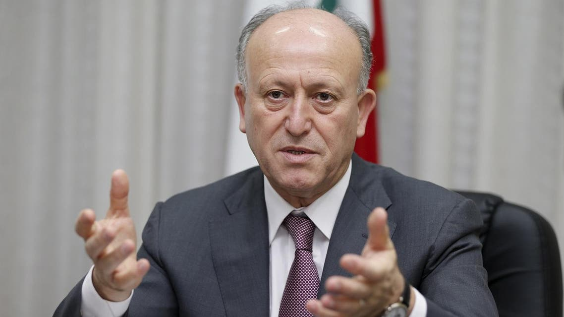 Lebanon's Justice Minister Ashraf Rifi speaks in his office in Beirut in this May 8, 2014 file photo. Rifi on February 21, 2016 announced his resignation, blaming political rivals Hezbollah and their allies for the country's political crisis, which has seen it without a president for 21 months and paralysed state institutions. REUTERS