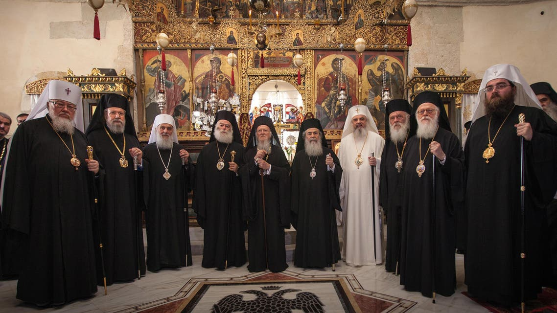 In this Friday, June 17, 2016 photo released by Holy and Great Council, leaders of ten Orthodox churches pose for a family picture at the Orthodox Academy of the Greek island of Crete. (AP)