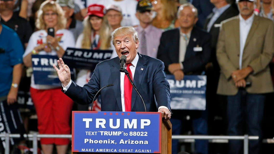 Republican presidential candidate Donald Trump speaks at a rally.